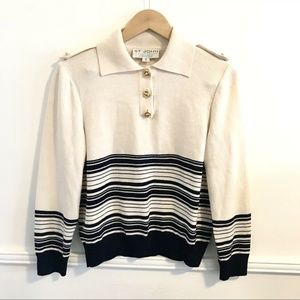 St John Knit Pullover Striped Sweater